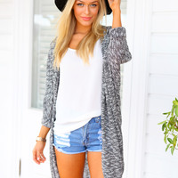 TOP KNOTCH CARDIGAN - oversized autumn grey and white cardigan
