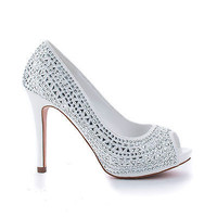 71112 By Blossom, Shimmering Rhinestone Studded Platform Stiletto Heel Dress Peep Toe Pumps