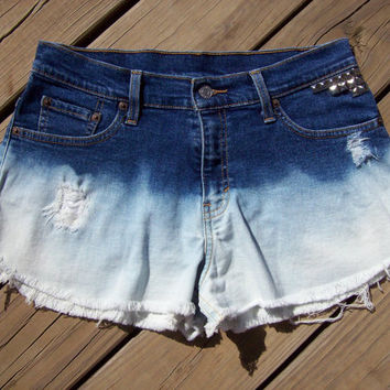 High Waisted Ombre Bleached Studded and by DenimAndStuds on Etsy