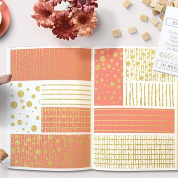 Coral and Gold Foil Digital Paper. Fashion Stripes and Dots and more backgrounds for graphic design, scrapbooking, invitations, printables.