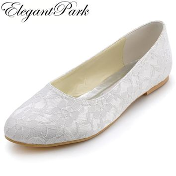 Woman Shoes Flats White Round Toe Comfort Lace Bride ballerina flats lady Ballets Bridal Shoes Women's wedding shoes EP11106