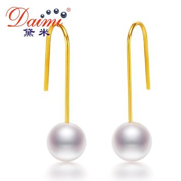 DAIMI Fashion Round 7-8mm Freshwater Pearl Drop Earrings Jewelry 925 Sterling Silver Dangle Earrings