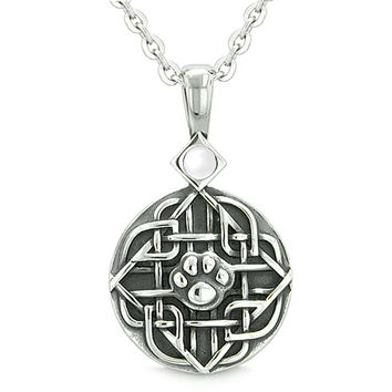 Amulet Celtic Shield Knot Magic Wolf Paw White Cats Eye Protection Powers Pendant 22 Inch Necklace