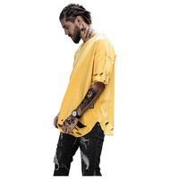 Elongated Ripped Hip Hop T-shirt Men 2017 Summer Curved Hem Longline Mens Tshirts Destroy Extended Tee Shirts Red Yellow White