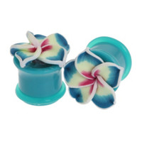 Turquoise Tropical Flower Plug 2 Pack