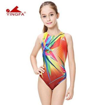 LMF8UV Yingfa  children training swimwear kids swimming racing suit competition swimsuits girls professional swim solid child