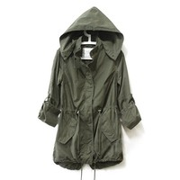Cocobla Women's Coat Zip Hoodie Drawstring Trench Jacket (S)