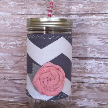 Mason Jar Tumbler 24oz Grey Chevron Insulated Sleeve with Pink Rosette BPA Free Straw - Travel Mug Great Gift