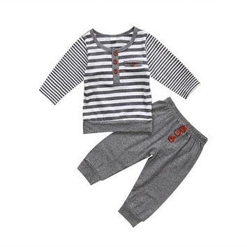 Baby Boy Gray and White Stripe Set with Wood Buttons Long Sleeve