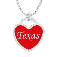 Texas Heart Necklace in Solid Sterling Silver