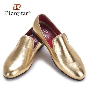 Piergitar 2017 NEW Fashion Men Flats Shoes HandMade Shiny Gold loafers