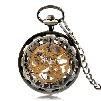 Vintage Bronze Skeleton Gear Gold Dial Luxury Mechanical Hand Wind Pocket Watch Analog Steampunk Fob Clock Gift