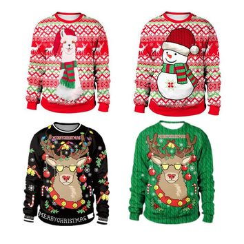 2018 Men's Women's 3D Ugly Christmas Sweater for Holiday Santa Elf Christmas Funny Sweater and Sweater Mujer Sweater