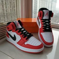 Nike Air Jordan I Unisex Casual Fashion Multicolor High Help Breathable Plate Shoes Basketball Shoes Couple Sneakers-1