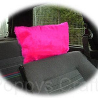 Barbie Pink fluffy faux fur car headrest covers 1 pair cute girly girl car accessories