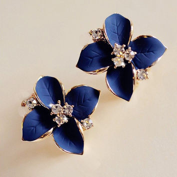 Chic Noble Blue Flower Stud Earrings