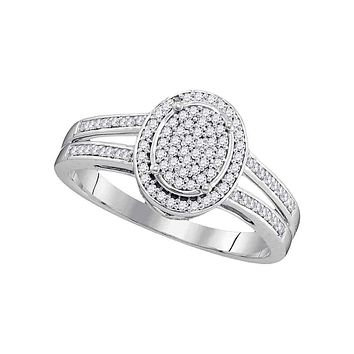 10kt White Gold Womens Round Diamond Oval Cluster Bridal Wedding Engagement Ring 1-4 Cttw