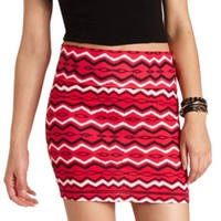 CHEVRON TRIBAL PRINT BODYCON MINI SKIRT