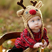Baby Hat - Reindeer Hat - Baby Reindeer Hat - newborn  Cute and Soft Earflap - by JoJosBootique