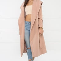 High Society Hooded Trench - Blush