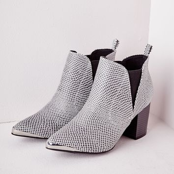 Missguided - Pointed Toe Cap Ankle Boots Reptile Print