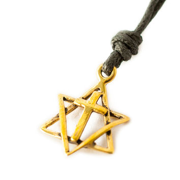 Jewish for Jesus Star of David Cross Handmade Brass Necklace Pendant Jewelry