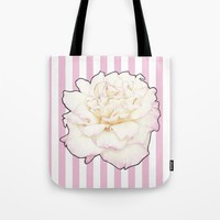 Pale Rose on Stripes Tote Bag by drawingsbylam