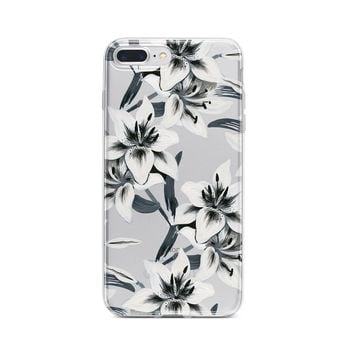 Watercolor Lilies - Clear TPU Case Cover