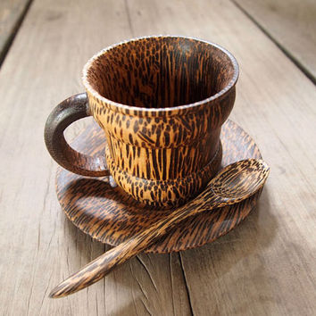 Wooden Coffee Tea set Cup with plate and spoon