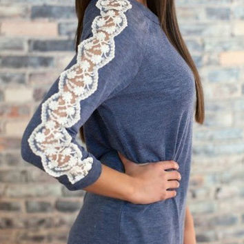 Blue Long Sleeve Lace Blouse