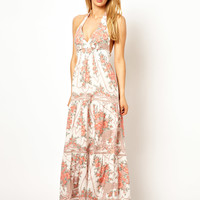 Oasis Halter Vintage Floral Maxi Beach Dress