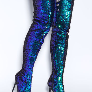Sequins Of Events Thigh-High Boots