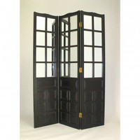Wayborn Black Wood - Carved Room Divider With Mirrors - 2337B