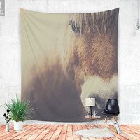 The curious girl, horse wall tapestry, wall hanging, beautiful horse, wild, nature wall tapestry, animal decor, horse wall decor, cute photo