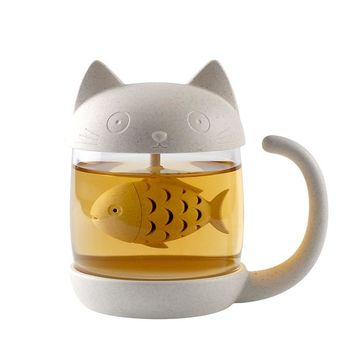 Cat Glass Mug With Infuser Office Coffee Tea Drinkware Monkey Mugs