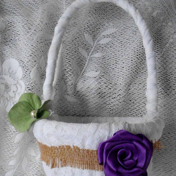 Flower Girl Basket, Purple, Sage, Green, Ivory, White, Fabric Flower Lace Burlap Custom Colors