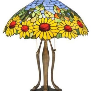 "Meyda Tiffany 24"" Bright Colorful Sunflower Art Stained Glass Table Lamp Decor"