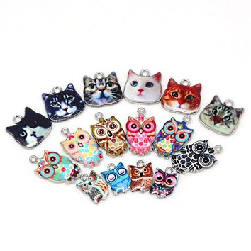 multi Enamel Charms for Jewelry Making Floating Metal Owl Cat Pendant For Living Floating Glass Women DIY fashion necklace