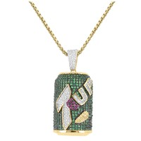 Designer Multi Color Lab Diamonds 7up Can Bottle Pendant