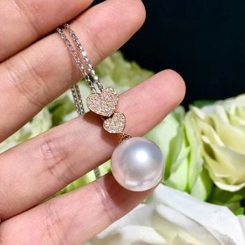 14-15mm White South Sea Pearl Double Hearts Lariat Necklace, 18k Gold w/ Diamond