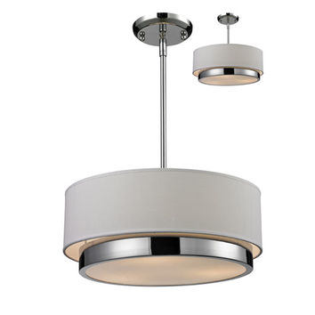 Z-Lite 186-16 Jade Three-Light Chrome Convertible Drum Pendant with White Linen Shade