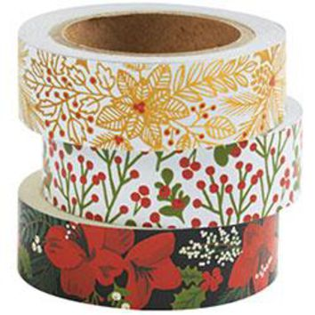 Holiday Floral Washi Tape (Set of 3)