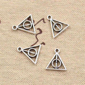 30pcs Charms harry potter deathly hallows 13*12mm Antique pendant fit,Vintage Tibetan Silver Bronze,DIY for bracelet necklace