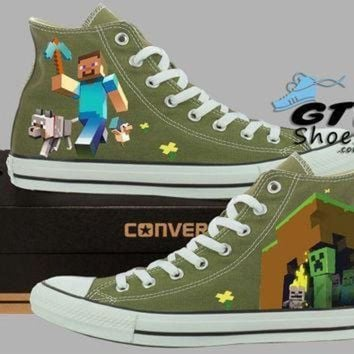 QIYIF hand painted converse hi sneakers minecraft video game handpainted shoes