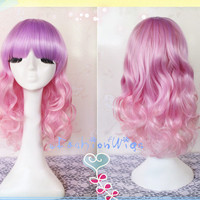 55cm Long Multi Purple and Pink Ombre Color Beautiful lolita Cosplay Wig, Anime Cosplay Wigs for Costume Party UF070