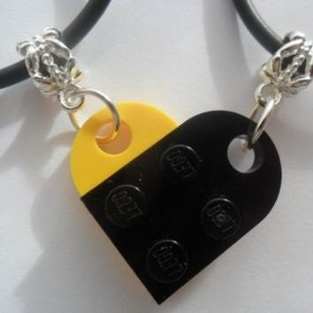 Black Yellow Lego Couple Heart His and Her Necklace Set, Lego heart necklace set | eBay