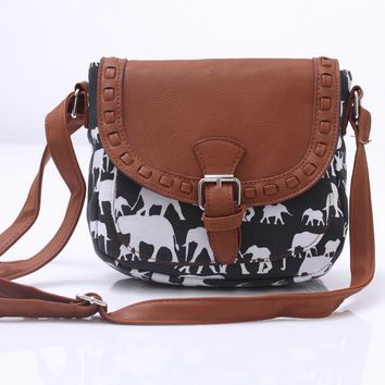 Vintage Cute Canvas Elephant Crossbody Shoulder Bag