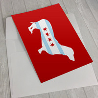 Greeting Card - Chicago Flag Dachshund Greeting Card - Chicago Flag Greeting Card - dog notecard - wiener dog notecard - Doxie greeting card