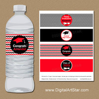Red and Black Chevron Graduation Water Labels with Diplomas - Printable Graduation Party Decorations - Personalized Water Bottle Wrappers