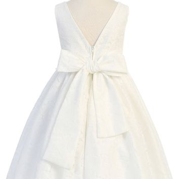 Girls V Back Off-White Lace Dress with Tulle & Pearl Trim Waist 2T-12